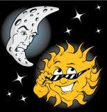 Moonman and Sundude Stock Image