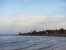 Moonrise över havet, pugwash Nova Scotia Fotografering för Bildbyråer
