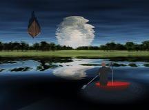 moonrise озера сверх Стоковое фото RF