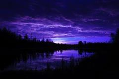 Moonrise. Over a beaver pond, Elk Island National Park Alberta Canada royalty free stock images