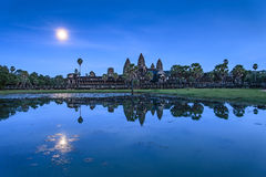 Moonrise at Angkor Wat Stock Image