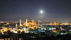 Moonrise at aya sofya mosque Royalty Free Stock Image
