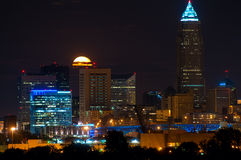 Moonrise behind Cleveland Stock Photos