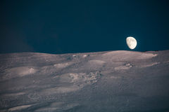 Moonrise in bergen Royalty-vrije Stock Foto's