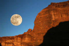 Moonrise - Canyon DE Chelly, Arizona Royalty-vrije Stock Foto's