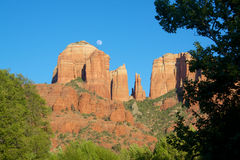 Moonrise at Cathedral Rock Stock Photo