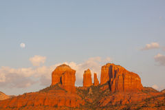 Moonrise at Cathedral Rock Stock Image
