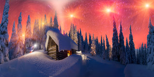 Moonrise on Christmas. Climbing to tourist wild alpine mountain to an abandoned cabin-in order to illuminate the snow-covered spruce canopy during moonrise royalty free stock image