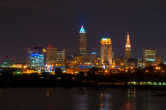 Moonrise Cleveland Stock Photo