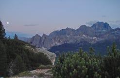 Moonrise de Dolomiti Imagens de Stock Royalty Free