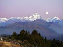 Moonrise Dhaulagiri-Annapurna Himalayas Mountains. Moonrise over Himalayas peaks. The Dhaulagiri-Annapurna-Manaslu Himalayan Mountain Range, Nepal stock photo