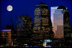 Moonrise di Manhattan Fotografia Stock