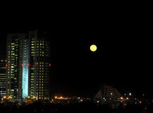 Moonrise Doha Stock Photo