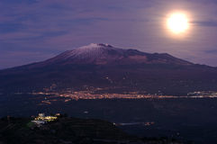 Moonrise Etna Royalty Free Stock Images