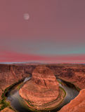Moonrise Horseshoe Bend Royalty Free Stock Photos