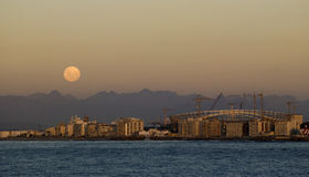 Moonrise in Kaapstad, stadion Royalty-vrije Stock Foto