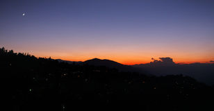 MOONRISE AT KALIMPONG, WEST BENGAL, INDIA. Kalimpong is a hill station in West BengaL, India. It is a subdivision of Darjeeling district located at an altitude Royalty Free Stock Images