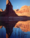 Moonrise, Lake Powell, Page, Arizona. Moonrise reflections across Lake Powell, Page, Arizona Stock Image