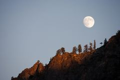 Moonrise in the mountain Royalty Free Stock Images