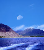 Moonrise Oahu Hawaii Arkivbild