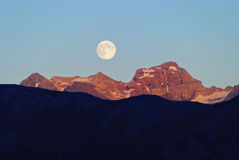Moonrise ove the Alps, Switzerland Stock Photography