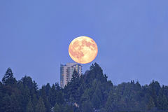 Moonrise over apartment building Stock Photography