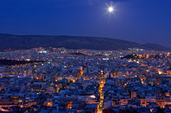 Moonrise over Athens Royalty Free Stock Photography