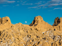 Moonrise over the Badlands Stock Image