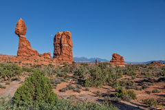Moonrise Over Balanced Rock Royalty Free Stock Image