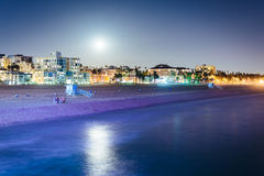 Moonrise over the beach in Santa Monica  Royalty Free Stock Photo