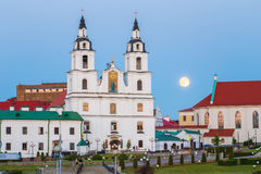 Moonrise over Cathedral Of Holy Spirit In Minsk, Belarus Royalty Free Stock Images