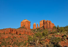 Moonrise Over Cathedral Rock Royalty Free Stock Photography