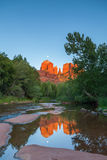 Moonrise Over Cathedral Rock Reflection Royalty Free Stock Photography