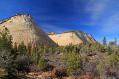 Moonrise over Checkerboard Mesa Royalty Free Stock Photography