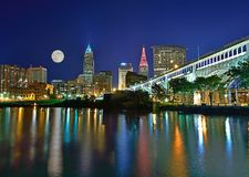 Moonrise over the Cleveland Ohio skyline. Royalty Free Stock Images