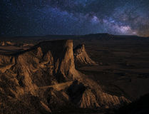 Moonrise over de woestijn Royalty-vrije Stock Foto
