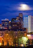 Moonrise Over Denver Skyline Royalty Free Stock Image