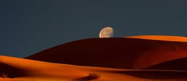 Moonrise Over the Dunes. Very Nice Panoramic Image of The moonrise Over the Dunes Stock Image