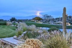 Moonrise Over Four Peaks. Mountain Arizona with Sonoran Desert,contrasting green grass and lake in foreground royalty free stock photo