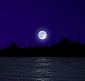 Moonrise over Istanbul Stock Image