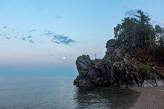 Moonrise over lake Baikal Royalty Free Stock Photography