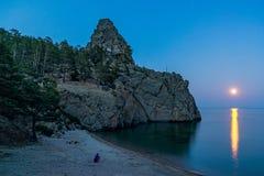 Moonrise over Lake Baikal Stock Photo