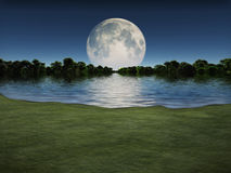 Moonrise over Lake Stock Photo