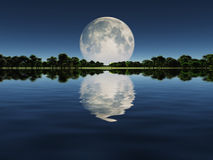 Moonrise over Lake Stock Photos