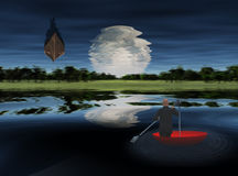 Moonrise over Lake vector illustration