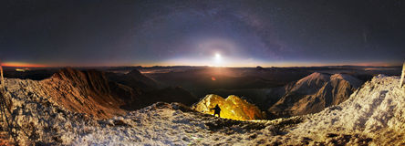 Moonrise over Mika-Mare, in the Carpathian Mountains Royalty Free Stock Photography