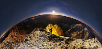 Moonrise over Mika-Mare, in the Carpathian Mountains Stock Images