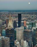 Moonrise over NYC Stock Photo