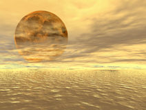 Moonrise over the ocean. Digital artwork Stock Photo