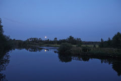 Moonrise over River Ruhr Stock Images